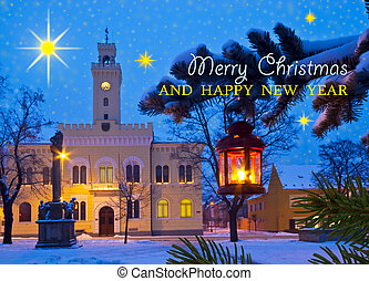 Christmas Town with Writing Marry Christmas and Happy New...