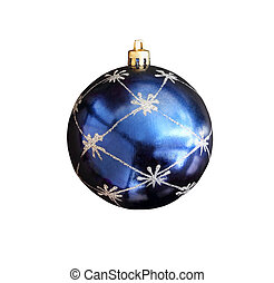 Christmas toy - a ball of blue isolated on white background with clipping path