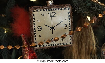 Christmas toy as a clock closeup
