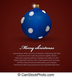 Christmas toy. Background. - Blue christmas toy on dark...