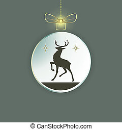 Christmas toy, ball with a bow, inside the silhouette of a deer.