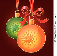Christmas toy balls on ribbons