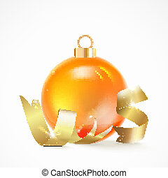 Christmas toy. - Christmas toy with ribbon isolated on white...