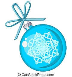 Christmas toy in the form of a blue ball with snowflakes isolated on white background. Vector illustration.
