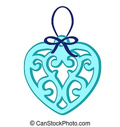 Christmas toy in the form of a blue heart with frosty patterns isolated on white background. Vector illustration.