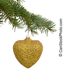 Christmas toy in the form of a golden heart