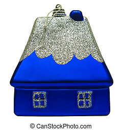 Christmas toy in the form of a house in blue. Isolated object on white background.