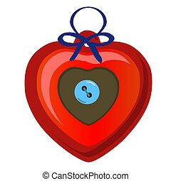 Christmas toy in the form of a red heart with blue button isolated on white background. Vector illustration.