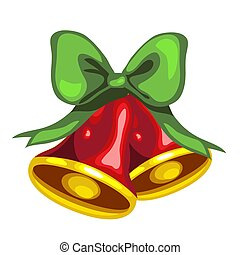 Christmas toy in the form of red bells with green bow isolated on white background. Vector illustration.