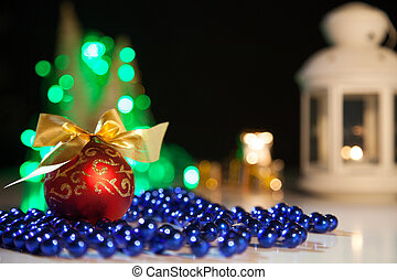 Christmas toy on a background of lights