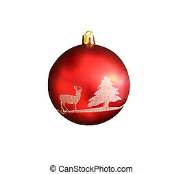 Christmas toy - red ball with deer and fir-tree pattern isolated on white background with clipping path