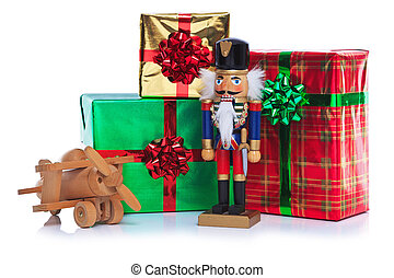 Christmas toy soldier and presents.