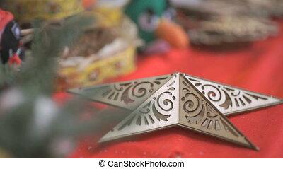 Christmas toy souvenir shiny star - Close-up - Christmas...