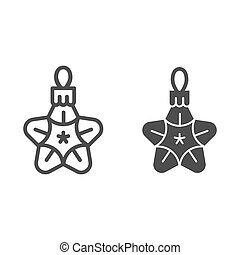 Christmas toy star line and glyph icon. Tree toy vector illustration isolated on white. Xmas decoration outline style design, designed for web and app. Eps 10.