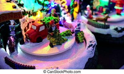 christmas toy store merry go round carousel .
