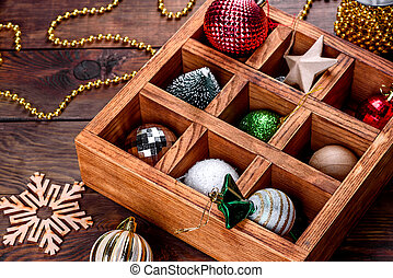 Christmas toys and decorations in a beautiful wooden box