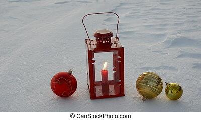 christmas toys and lamp on snow - christmas toys and lamp...