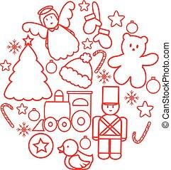 Christmas toys ball. Linear illustration vector.