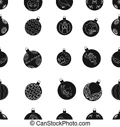 Christmas toys black icons in set collection for design. New Year ballsraster, bitmap symbol stock web illustration.