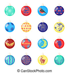 Christmas toys cartoon icons in set collection for design. New Year ballsraster, bitmap symbol stock web illustration.
