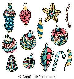 Christmas toys - Christmas tree toys, cartoon flat style, ...