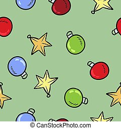 Christmas toys colorful doodles decoration seamless pattern