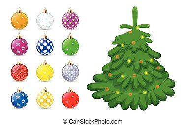 Christmas toys for the Christmas tree isolated on white background. Holiday christmas toy for fir tree. Vector illustration.