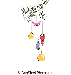 Christmas toys hanging on a branch