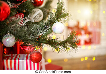 Christmas toys hanging on the tree beautiful holiday decor