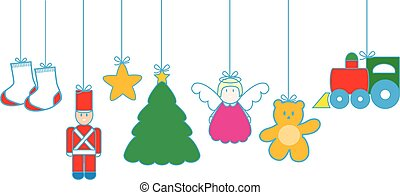Christmas toys hanging on white background vector.