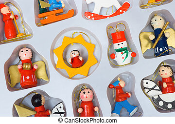 Christmas toys in box, holiday background