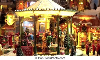 Model Village. A Miniature Town During Christmas Holidays.