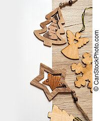 Christmas toys on a wooden table with space for text