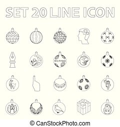 Christmas toys outline icons in set collection for design. New Year balls vector symbol stock web illustration.