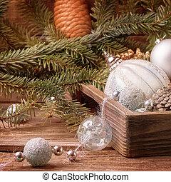 Christmas toys with Christmas tree