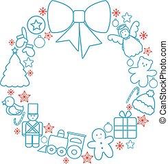 Christmas toys wreath - Christmas toys garland line vector