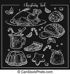 Christmas traditional dinner menu vector sketch illustration set of dishes.