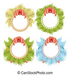 Christmas traditional holly wreaths set.