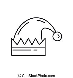 Christmas traditional santas fur cap line icon. Holiday Xmas winter trendy decoration background. Holidays event, carnival party element icon. Children happiness. Vector linear illustration vintage.