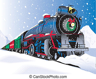Christmas Train - A Christmas themed train plowing through a...