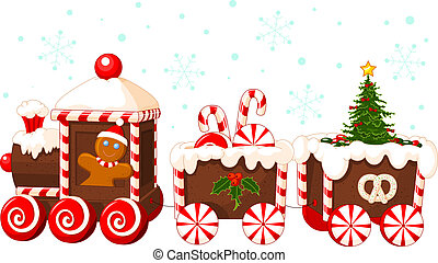 Christmas train made of gingerbread, cream and candies