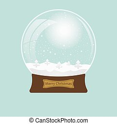 Christmas transparent snowglobe with tree. Eps 10. Vector illustration.
