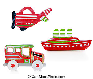 Three cutouts of an airplane, car and ship. Each painted red, green and white. The car also has sparkly gold trim. On a white background.