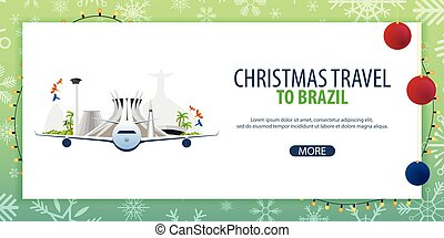 Christmas Travel to Brazil, Rio de Janeiro. Winter travel. Vector illustration.