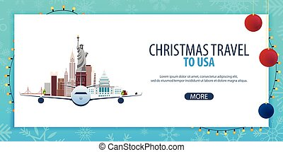 Christmas Travel to USA, New York. Winter travel. Vector illustration.
