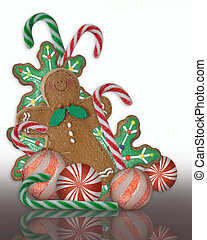 Christmas treats gingerbread cookie illustration with candy...