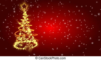 Christmas tree with light on red background