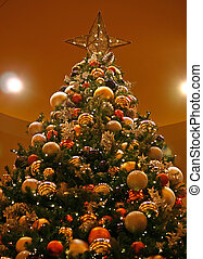 Christmas Tree 2 - A low angle view of a decorated Christmas...
