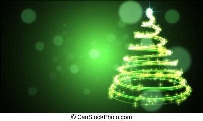 A stylish Christmas tree against a blurry green circle background
