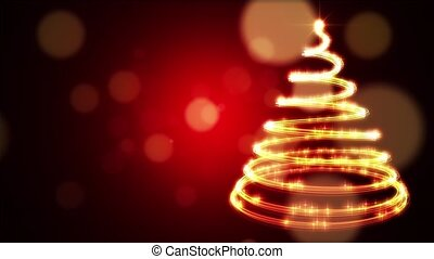 A stylish Christmas tree against a blurry red circle background